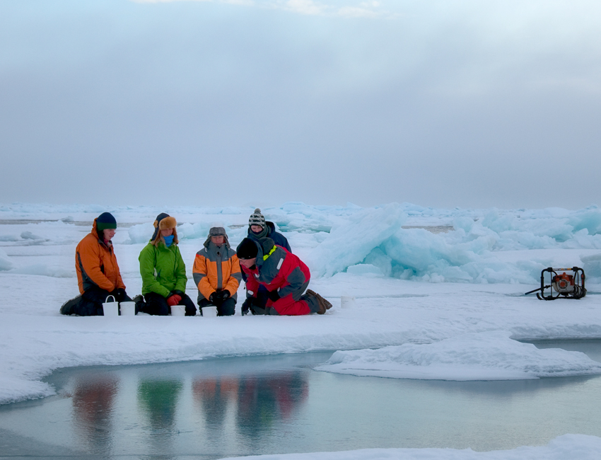 Fieldwork on the sea ice.