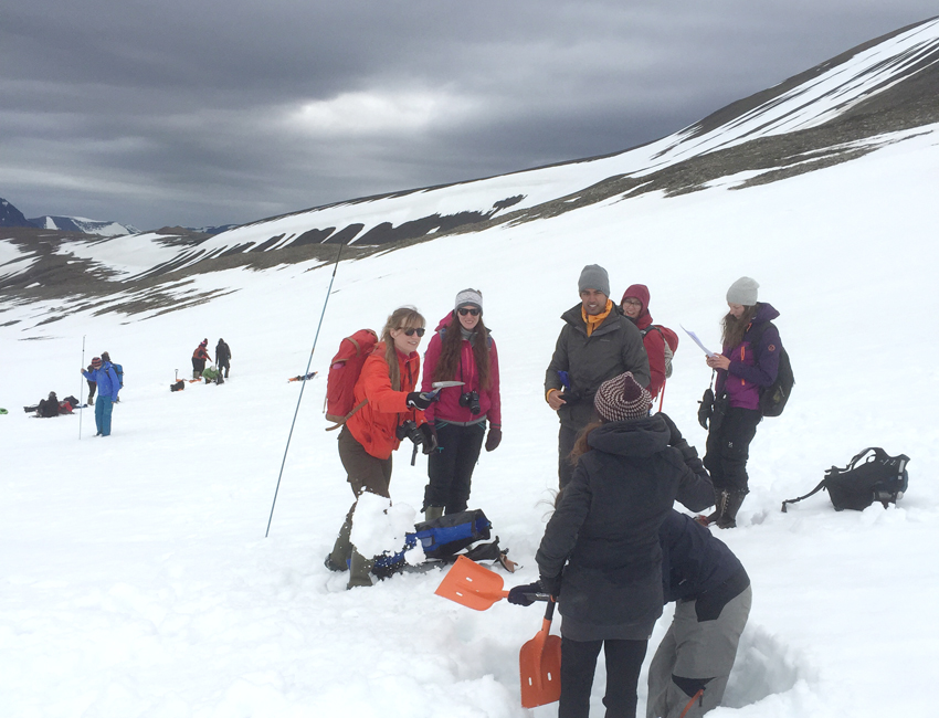 Student fieldwork on a glacier