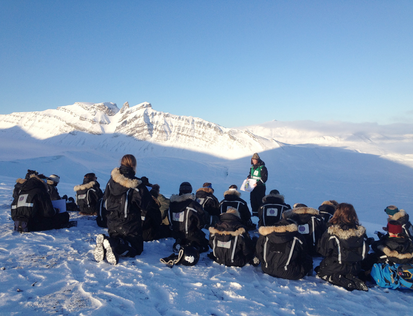 Lecture out in Svalbard nature