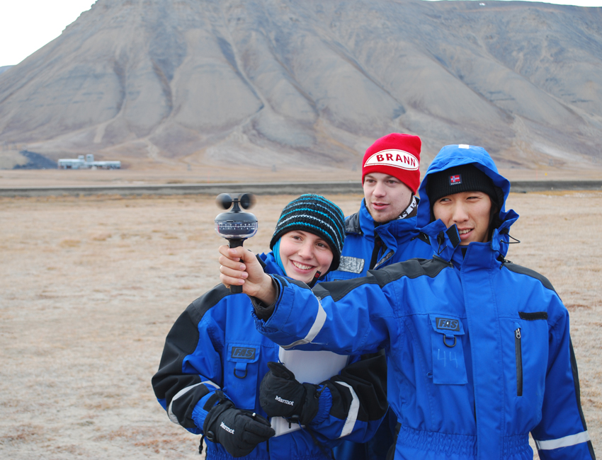Students checking wind speed in Adventdalen