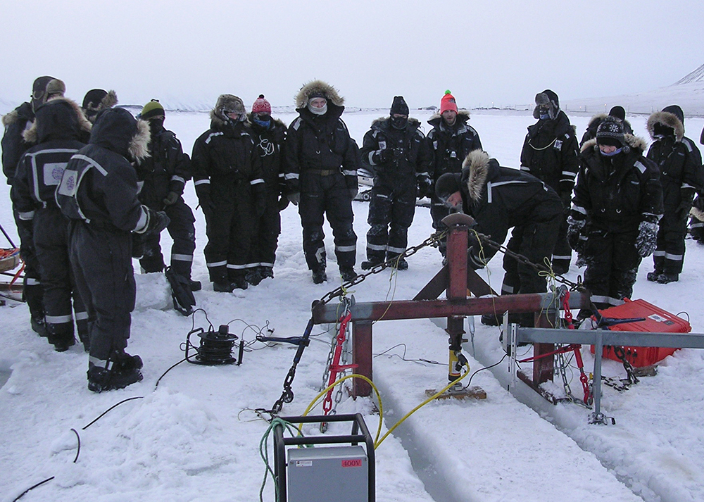 People on the sea ice close to Svea, Svalbard, performing scientific experiments.