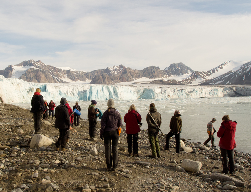 Students in front of a glacier