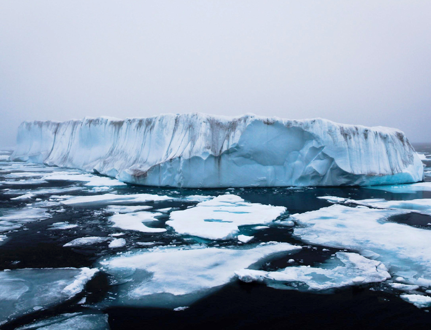 Icebergs in broken sea ice