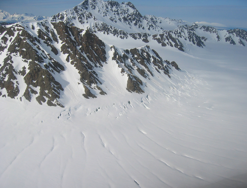 Crevasses in Comfortlessbreen in May 2008.