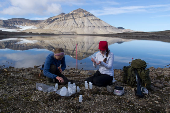 Fieldwork in Ny-Ålesund, Svalbard. Photo: Steve Coulson/UNIS