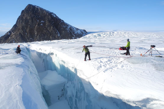 Glaciologists on Kronebreen, Svalbard