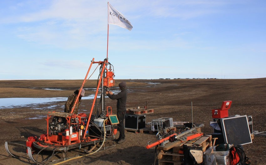 Drill rig outside Station Nord, Greenland.