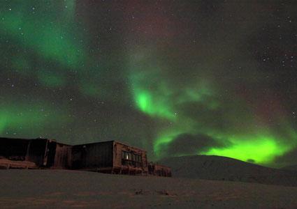 Aurora over Kjell Henriksen Observatory, Svalbard.