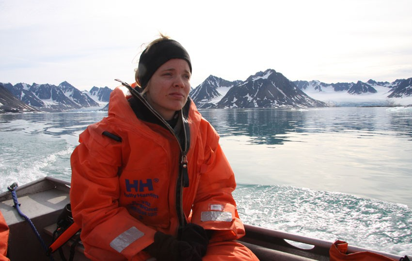 Sanna Majaneva on fieldwork in Svalbard.