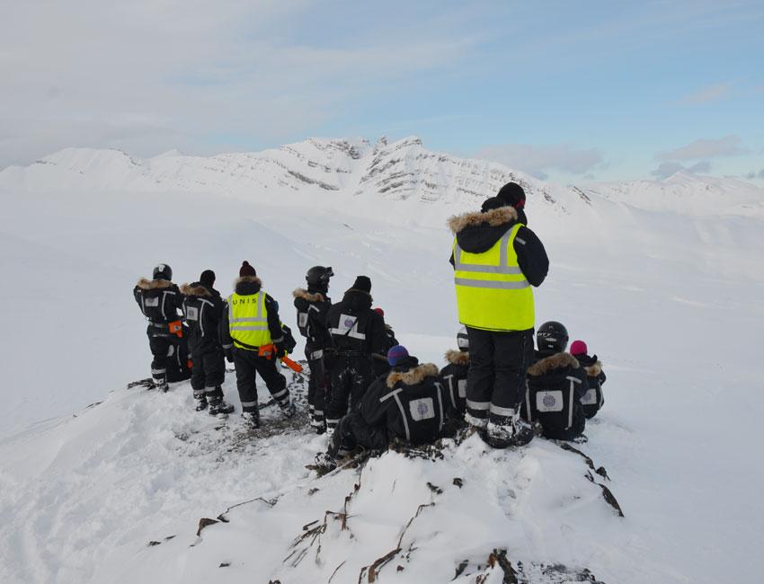 Students on excursion in Nordenskiöld Land.