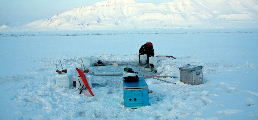 Working on sea ice in Adventfjorden, Svalbard.