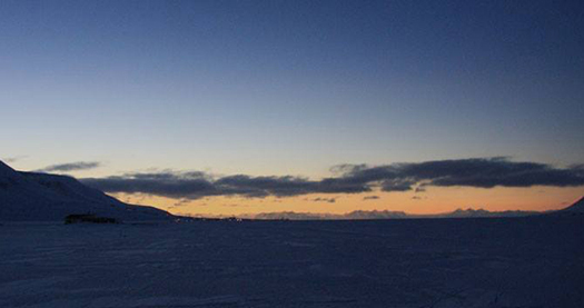 View towards Longyearbyen, total solar eclipse in Svalbard 20 March 2015.