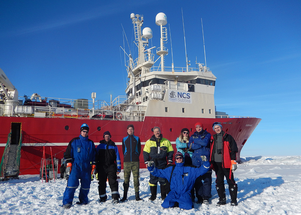 Participants on AT-211 on scientific cruise with MS Bjørkhaug north of Spitsbergen, April 2015.