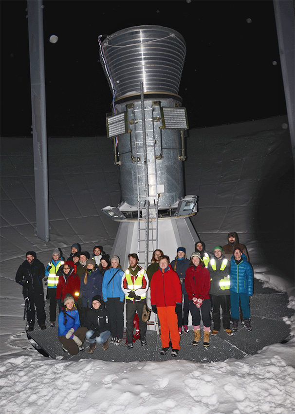 Students at the EISCAT radar, Svalbard, during the UNIS course AGF-216.