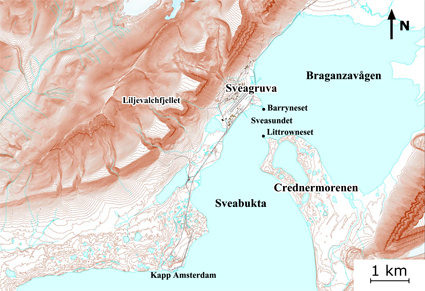 Map of Svea, Svalbard