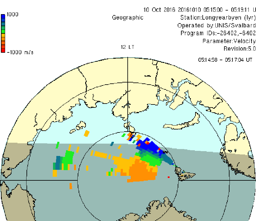 Svalbard Superdarn radar image October 2016