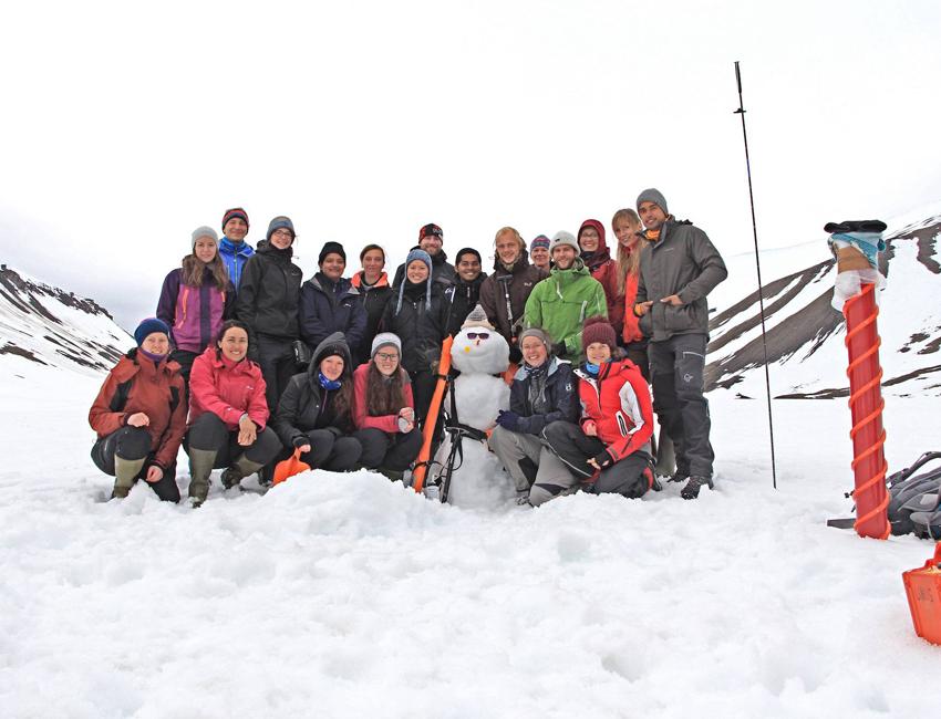 Students on Longyearbreen glacier.