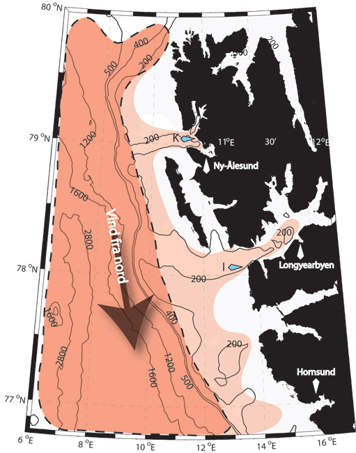 Map illustration of water influx itno Svalbard fjords