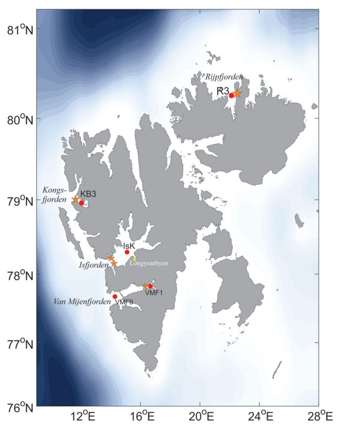 Location of sea observatories and stations in Isfjorden, Kongsfjorden and Rijpfjorden