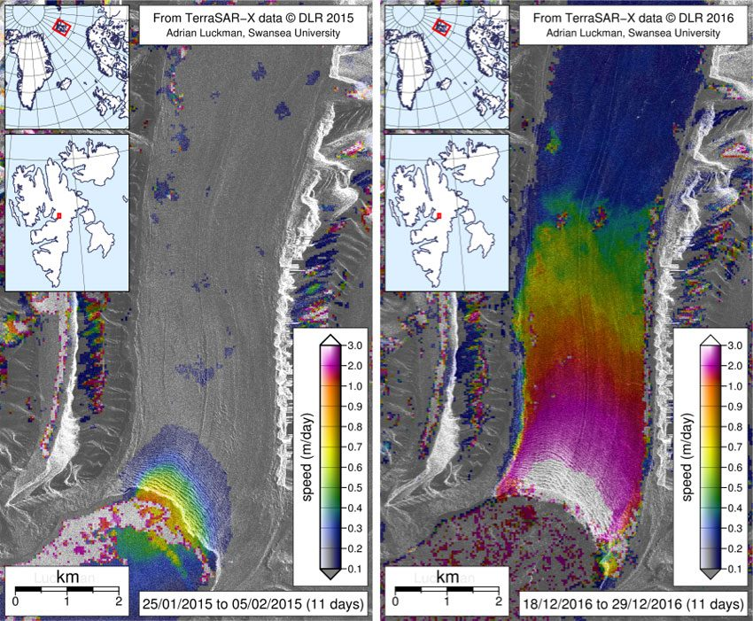 Glacier speed measured by Adrian Luckman using TerraSAR-X satellite data. Winter speed in 2015 (left) and in December 2016 (right).
