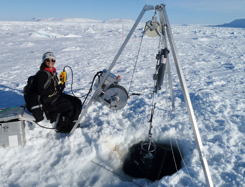 Taking water samples in Palanderfjorden Svalbard