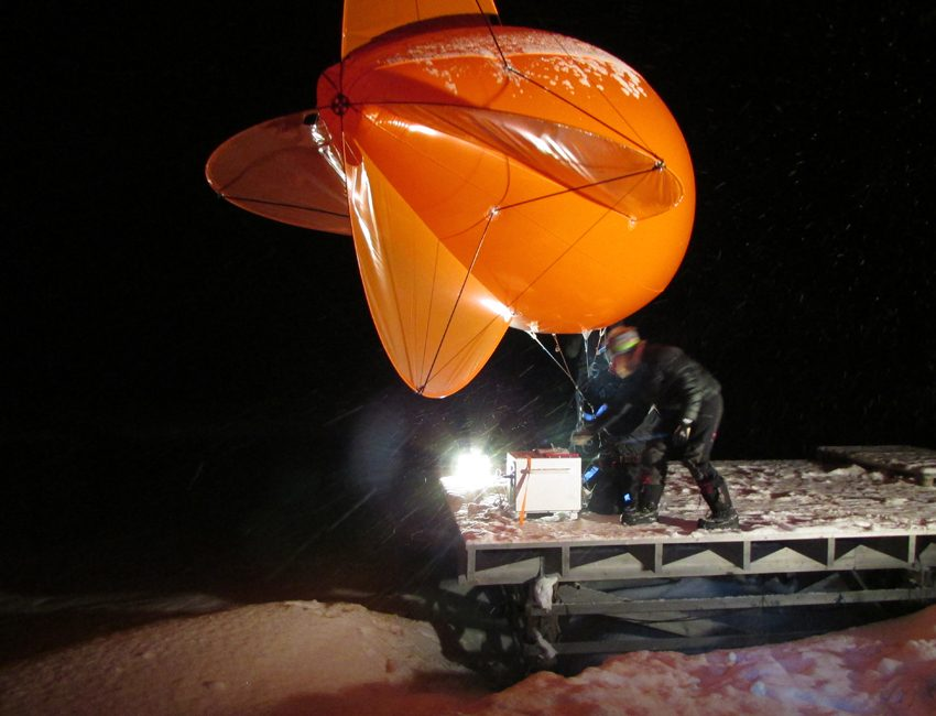 Weather ballon in dark season