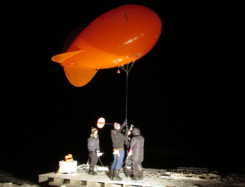Weather balloon in dark season