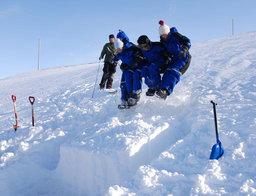 Testing snow stability in Lia Longyearbyen Svalbard