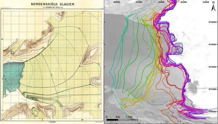 To the left is a map of the Nordenskiöldbreen made by De Geer in 1910. To the right is a satellite image from 2015 with all 28 reconstructed glacier front positions of the Nordenskiöldbreen from 1896 to 2015.