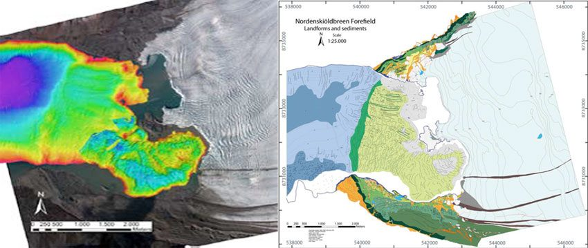 To the left is a composite picture of the scanning of the fjord bottom and the flight image from 2009. To the right, the completed geomorphological map, with all glacier tracks included.