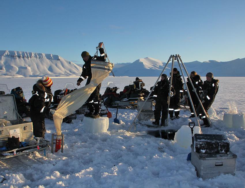 AB-330/830 students doing net sampling in Van Mijenfjorden. Photo: Janne Søreide/UNIS