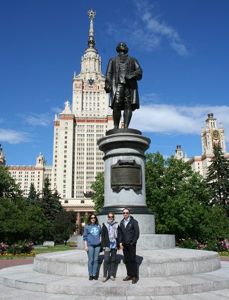 Ms. Nosikova, Assoc. Prof. Baddeley and Prof. Lorentzen outside the Main building of Moscow State University. The balcony from which the previous photograph was taken can be seen just above the orange brick work.