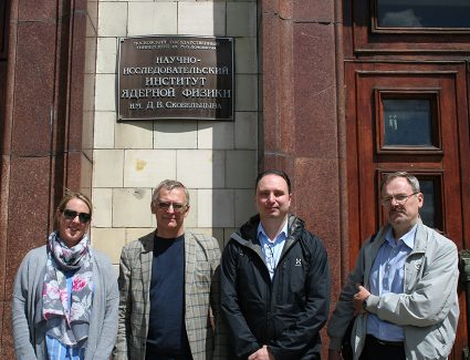 Assoc. Prof. Baddeley, Prof. Pillipenko, Prof, Lorentzen and Dr. Kalegaev (head of the laboratory) outside the Main building of Moscow State University.