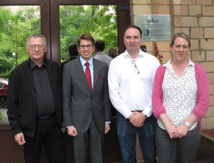 Prof. Pilipenko, Dr. Krasnoperov, Prof. Lorentzen and Assoc. Prof. Lisa Baddeley outside the Geophysical Centre of the Russian Academy of Sciences.