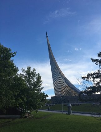 The Monument to the Conquerors of Space at Prospekt Mira in Moscow. The structure was built in 1964 to celebrate the achievements of the Soviet people in space exploration. The Museum of Cosmonautics is located inside the base of the monument.