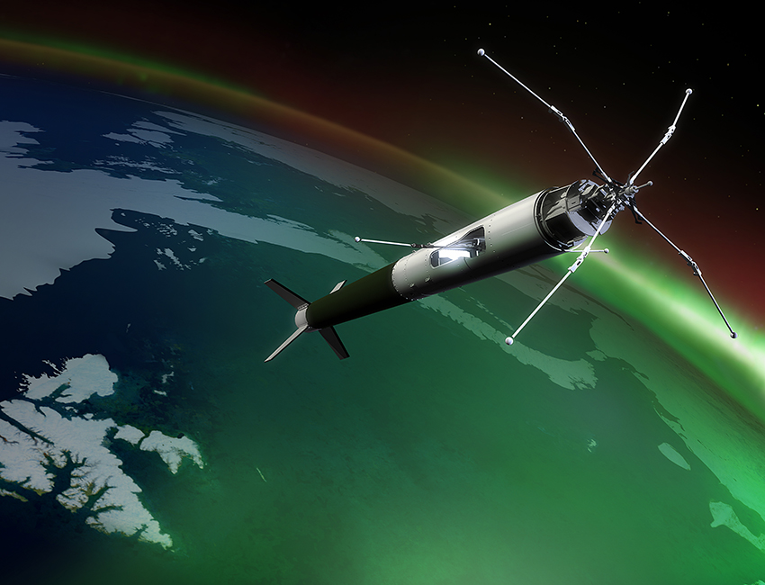 The sounding rocket ICI-3 was launched from Svalbard in November 2011. Illustration: Trond Abrahamsen/Andøya Space Centre