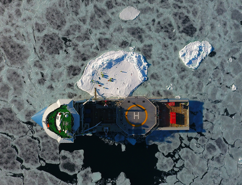 AT-211 scientific cruise with Polarsyssel, April 2017. Drone photo: Sebastian Sikora/UNIS