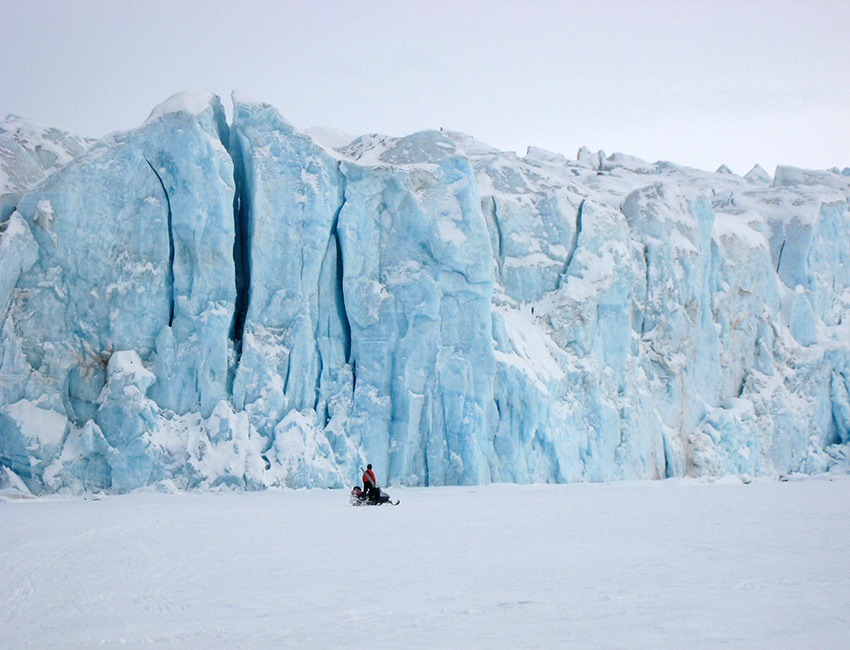 Checking sea ice conditions in front of Tunabreen, a surging tidewater glacier. Photo: Mark Boon