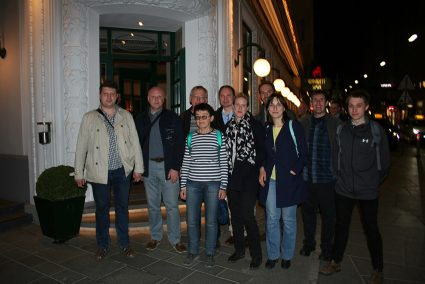 Some of the participants of the scientific session after the meeting dinner. From left to right: Dr. Vladimir Belakhovsky (IPE /PGI), Dr. Dmitri Klimushkin (Inst. Of Solar Terrestrial Research, Irkusk, Russia), Prof. Vyacheslav Pilipenko (IPE), Dr. Olga Kozyreva (IPE), Prof. Dag Lorenzten (UNIS), Assoc. Prof. Lisa Baddeley (UNIS), Dr. Martin Archer (Queen Mary University of London, UK), PhD student Nataliya Nosikova (IPE) Michael Hartinger (Virginia Tech, USA), PhD student Samuel Wharton (University of Leicester, UK).
