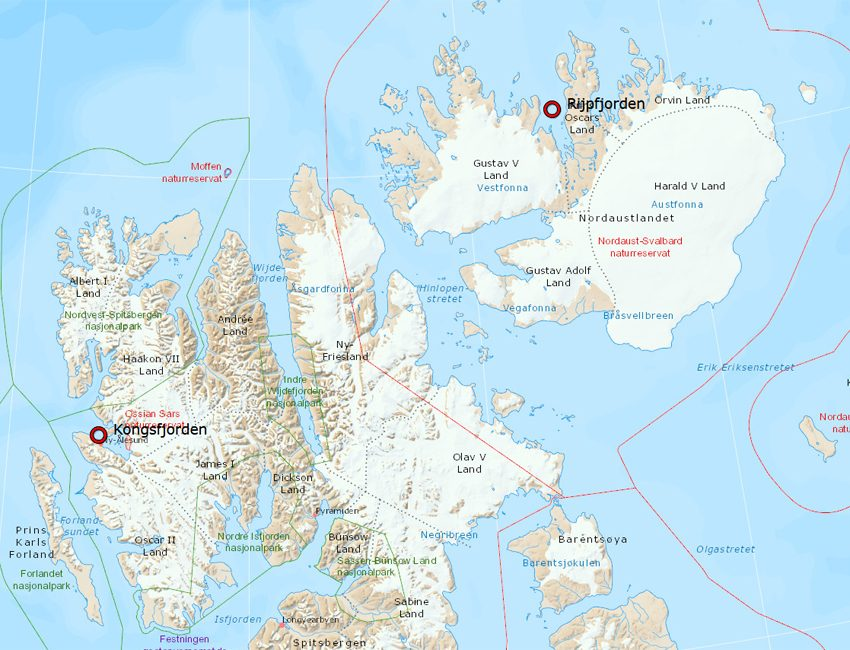 Map of Northern Svalbard