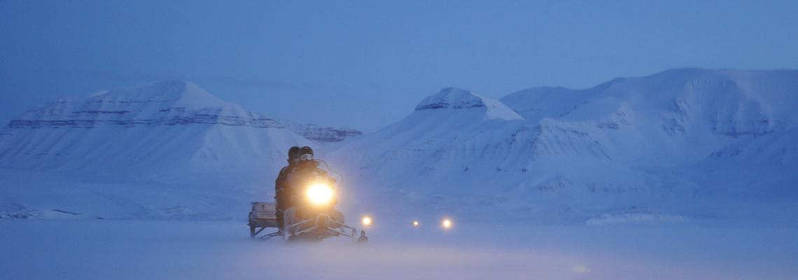 Snowmobile excursion in Billefjorden, February 2009. Photo: Jørgen Berge / UNIS