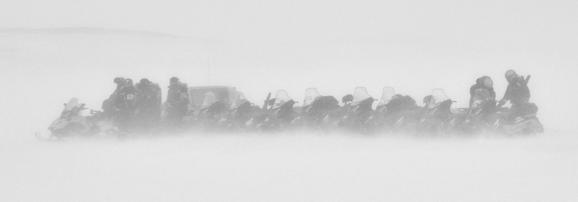 Whiteout conditions on snowmobile excursion, March 2012. Photo: Jacob Abermann / UNIS