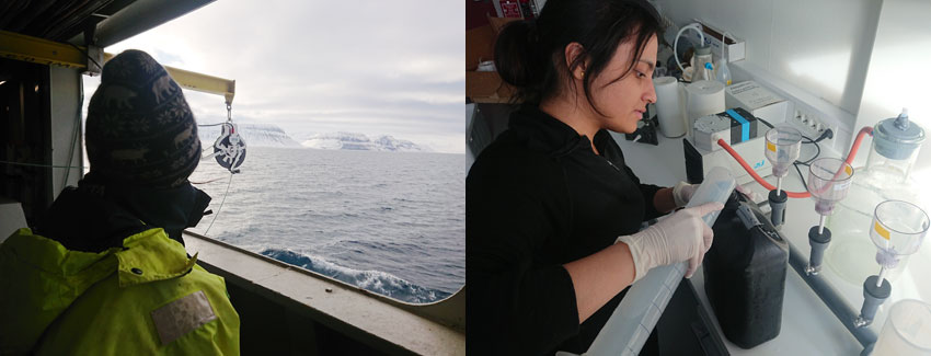 Left: Sailing out to the IsA marine station. Right: Cheshtaa Chitkara filtering water samples in the UNIS lab. Photos: Snorre Flo/UNIS.