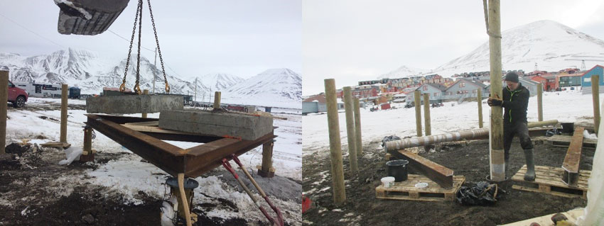 Pile test campaign outside UNIS. Left: Loading of elements. Right: Installation of piles in the ground. Photo: UNIS.