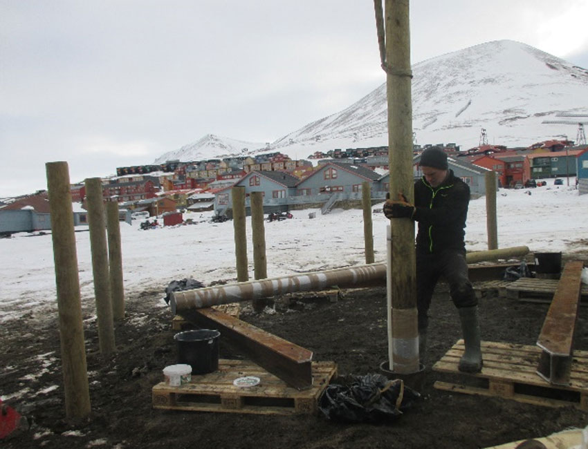 Pile test campaign to monitor thawing permafrost