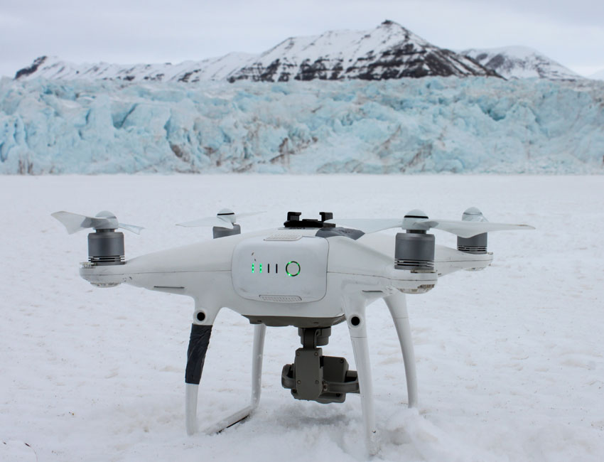 Drones are used to study glacier crevasses. Photo: Christina Hess.