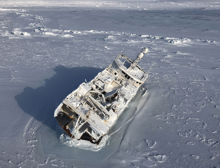 "The trawler ""Northguider"" shipwrecked in Hinlopenstretet in late December 2018. Photo: The Governor of Svalbard."