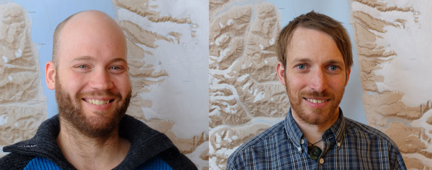 UNIS PhD candidate Peter Betlem (left) and associate professor Kim Senger together with co-authors recently received the Best Norwegian CCS Research Centre (NCCS) Paper award for 2019. Photo: UNIS.