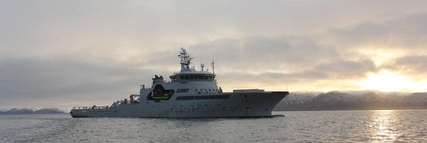 Norwegian Coast guard ship KV Barentshav in Storfjorden, Svalbard.