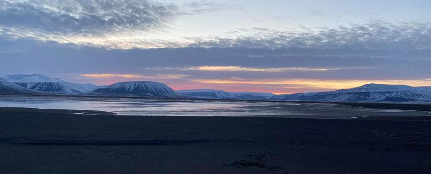 Sunset over Agardhbukta on the east coast of Spitsbergen